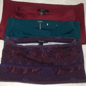 3 mini skirts green, red and purple paisley
